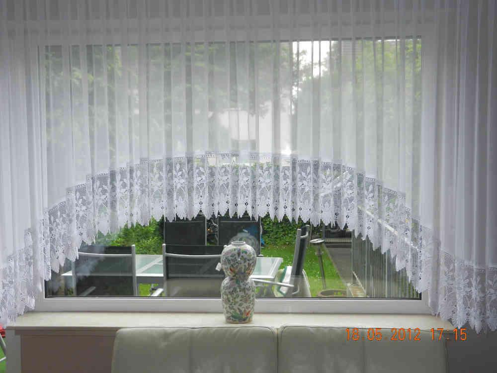 Wunderschöne Blumenfenster C BogenStore 25cm Spitze Voile Gardine